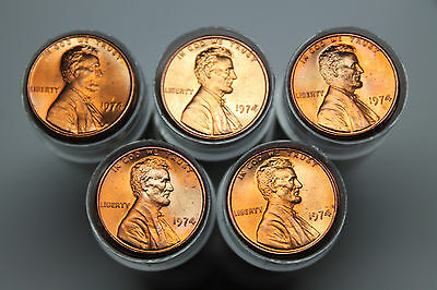 Lot of 5 1974 BU Lincoln cent rolls