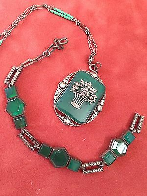Exquisite Set Org Art Deco Signed Germany Bracelet Necklace Sterling Chrysoprase