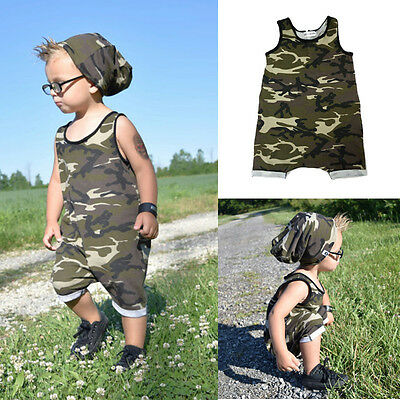 UK Baby Kids Boy Girl Infant Camouflage Romper Jumpsuit Playsuit Bodysuit Outfit