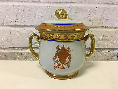 Mottahedeh Italian Ceramic Lowestoft Orange Urn Reproduction Covered Sugar Dish