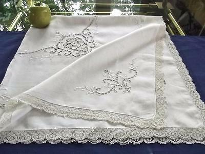 "Antique Italian White Linen 35"" Tea Coth Point Venise Lace Bridal Centerpiece"