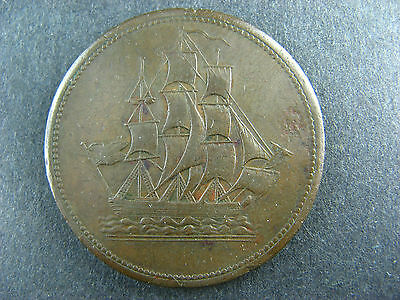 Withers 1618 Rare One Penny Bowman 16 Token ship boat
