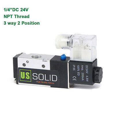 "U.S.Solid® 1/4"" NPT 3 Way 2 Position Pneumatic Electric Solenoid Valve DC 24 V"
