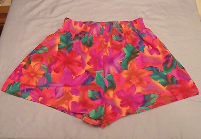 Vintage Shiny Orange & Pink 80s/90s High-Waisted OP Shorts Amazing Condition M/L