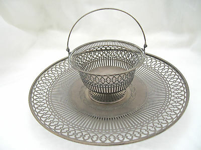 Antique Sterling Silver Pierced Reticulated Tray With Matching Basket