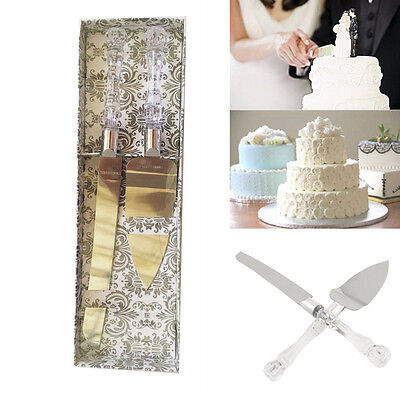 Stainless Steel Anniversary Wedding Party Cake Knife and Server Set