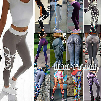 Womens YOGA Gym Workout Sports Leggings Running 3D Fitness Pants Stretch Trouser