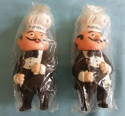 2 Vintage Magic Chef Vinyl Advertising Coin Banks New-In Original Packaging