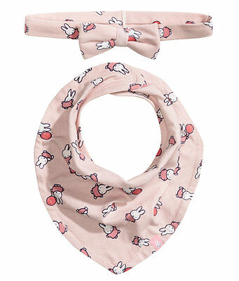 H&M baby girl pink miffy Hairband and triangular scarf (bandana bib) 2pc set