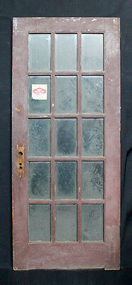 "36""x 84"" Antique French Exterior Entry Oak Wood Door 15 Beveled Glass Lites"