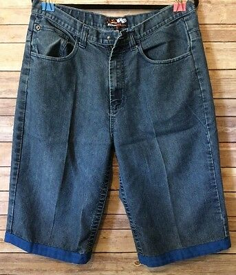 Men's Raw Blue Skater Shorts Size 34 Embroidery