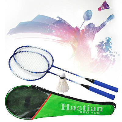 Pro. 2pcs Badminton Racket High-strength Aluminium Alloy Racquet Bag Badminton