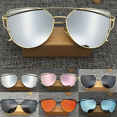 Women's Flat Lens Mirrored Metal Frame Glasses Oversized Cat Eye Sunglasses one