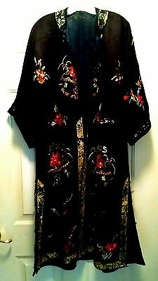 ANTIQUE CHINESE ROBE SILK EMBROIDERY as is Gorgeous Medallian Pattern Vintage