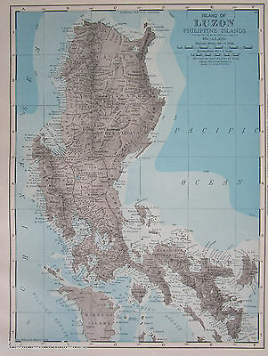 1901 LUZON, PHILIPPINES Map. Topographic Gray Blue Philippine Island Map Art
