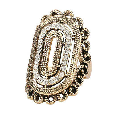 Midi Ring Cubic Zirconia Rhinestone Bezel Setting Antique Style Statement Ring!!