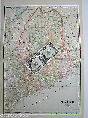 XL 1901 MAINE Wall Map 13x19 1900s ME Map Art Print Decor MAINE CENTRAL Railroad