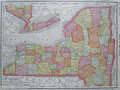 1907 NEW YORK NY State Map. or CT Connecticut. Original Rand McNally Pastel