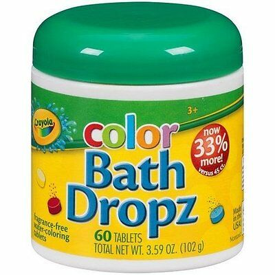 Crayola Enjoyable Colored Bath Dropz 60 Tablets. Multi Coloring Kids Bath. New!
