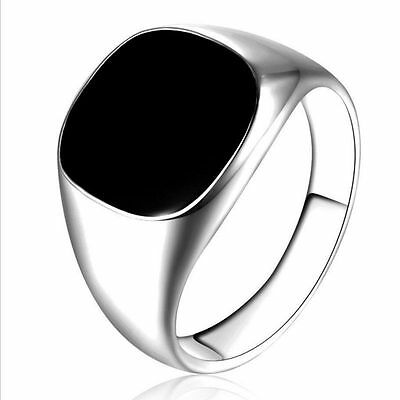 Men's Black Large Onyx Silver Stainless Steel Fancy Finger Ring Punk Jewelry