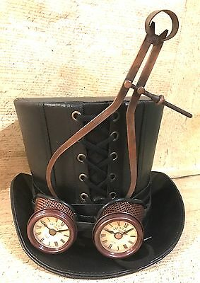Steampunk Black  Leather look top hat with Mechanical & Clock Goggles In 61cm