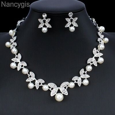 Silver Crystal Pearl Flower Necklace and Earrings Bridal Wedding Jewellery Set