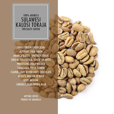 2.2lb/1kg Sulawesi Celebes Toraja Full Washed Unroasted Green Coffee Beans Raw