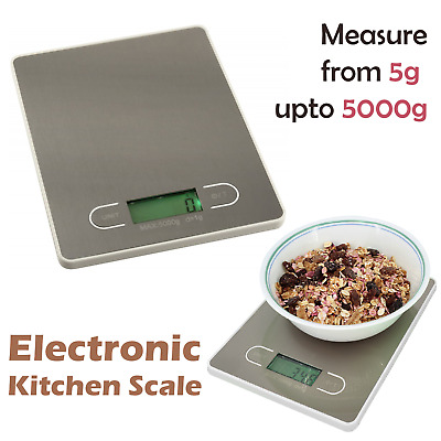 Slim LCD Home Kitchen Scale Weighing Vegetables Spices in Silver 1 -5000g (5kg)