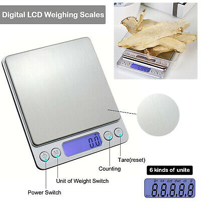 Silver Pocket Scale with LCD Display Digital Electronic Weighing Herbs Jewellery