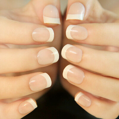 24 Pcs Simple French Short False Nails Acrylic Classic Style Nail Art Stickers