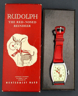 Vintage 1950's Rudolph Montgomery Ward Character Watch in Original Box