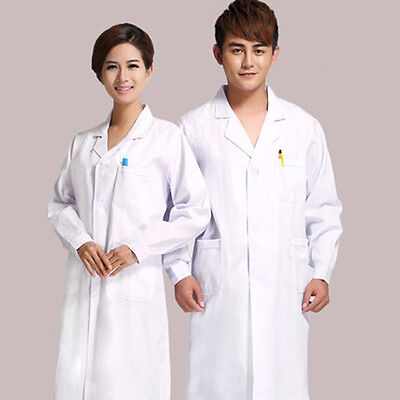 Doctor White Lab Long Coat Hospital Scientist Women Men Fancy Dress Pockets