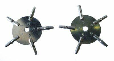 2pc Universal 5 Prong POCKET WATCH Key for Winding - ODD & EVEN Numbers