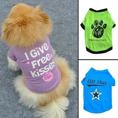 Lovely Small Pet Dog Cat Puppy Vest T-Shirt Coat Clothes Summer Apparel Clothing