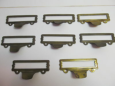Lot of 8 vintage brass drawer pulls with card slots