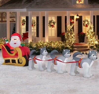 12.5 ft long GEMMY Christmas Inflatable Santa and Dogsled Scene, nib