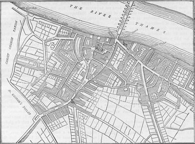 SOUTHWARK. Map of Southwark, 1720. London c1880 old antique plan chart