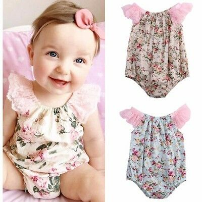Newborn Toddler Infant Baby Girl jumpsuit Bodysuit  Floral Romper Outfit Sunsuit