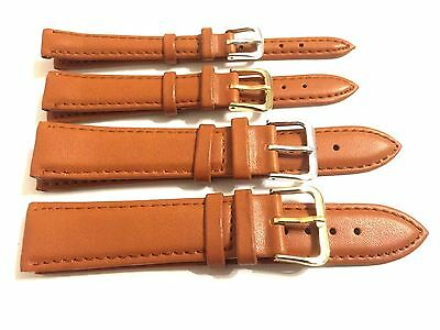 10mm - 20mm TAN BROWN PLAIN GENUINE PADDED LEATHER WATCH STRAP BAND