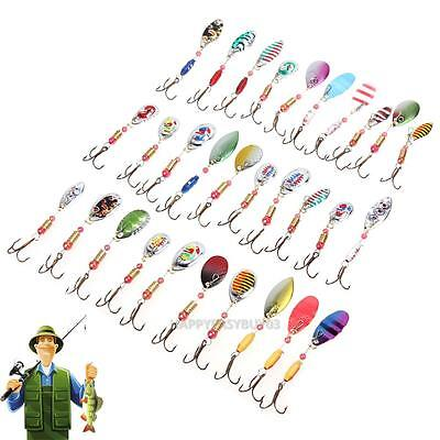 30pcs Lot Minnow Fishing Lures Spinner Bait Spoon Fish Bait Crankbait Hooks New