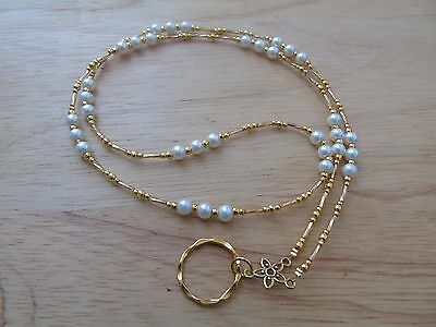 Handmade Beaded Spectacle / Glasses Chain Holder / Necklace. Gold Ivory Coloured