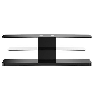 MMT black glass 1250 tv stand 3 cantilever glass shelves 32 - 55 inch screens