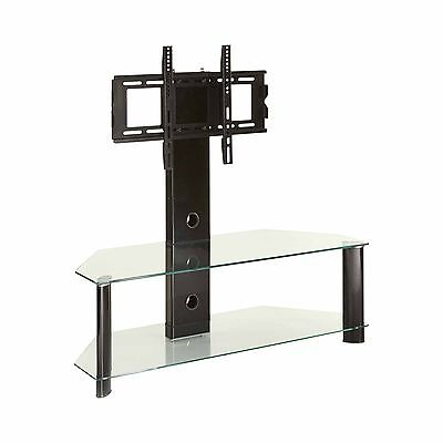 """Cantilever Clear glass black legs tv stand for 32"""" to 65"""" LCD LED tv screens"""