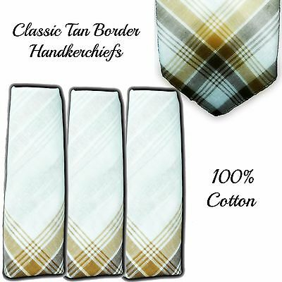 "100% Cotton Handkerchiefs Brown Border 16"" 40Cm Men Large Hankies Hanky Grandad"