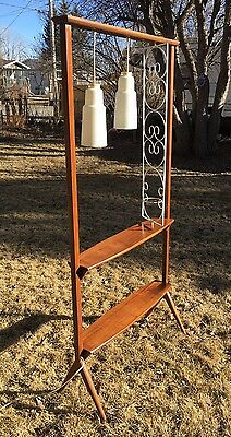 Teak Room Divider Shelf With Lamps & Planter Trellis Mid-Century Modern Style