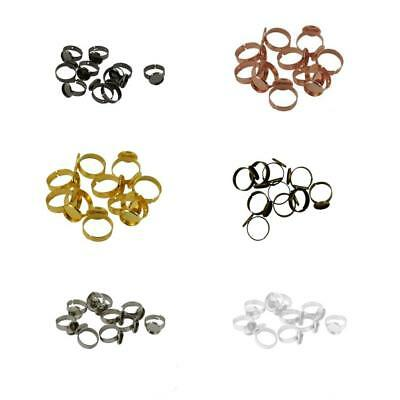 10pcs Adjustable 12mm Bezel Ring Blanks Base Setting DIY Cabochon Craft Findings