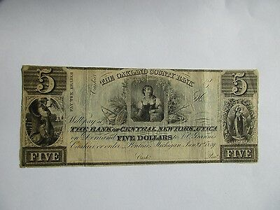 "Michigan Obsolete Bank Note, ""Oakland County Bank"" $5, 1839"