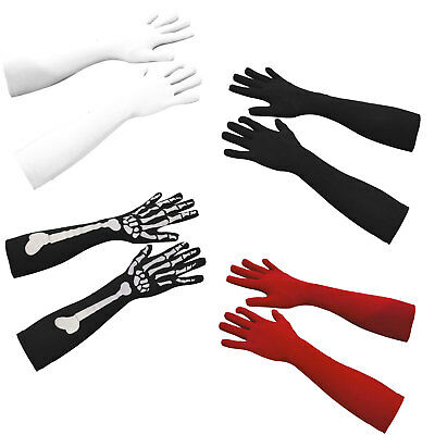 Womens Elbow Length Flapper Gloves Fancy Dress Costume Accessory - Three Colours