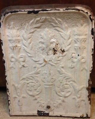 Antique Fireplace Tin Summer Cover  Torch Motiff Shabby Chic