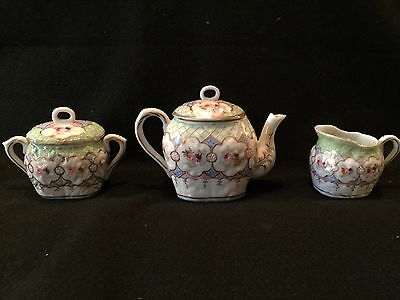 Antique Japanese Eggshell Handpainted Porcelain Teapot Creamer Sugar